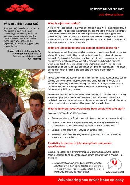 Job descriptions - Volunteering Qld