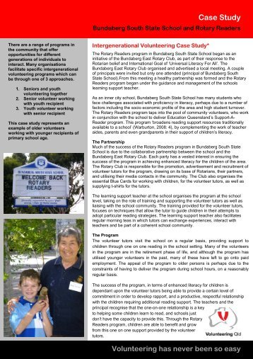 BSSS and Rotary Readers case study - Volunteering Qld