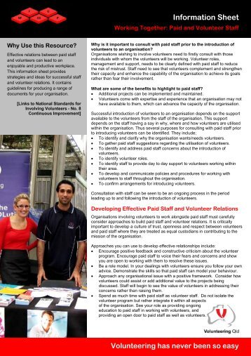 Working Together: Paid and Volunteer Staff - Volunteering Qld