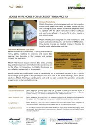 fact sheet mobile warehouse for microsoft dynamics ax - ERP2mobile