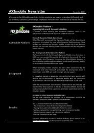 AX2mobile Newsletter August 2009 - ERP2mobile