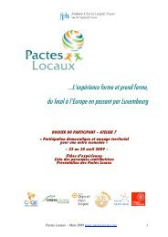 …L'expérience forme et prend forme, du local à l ... - Pactes Locaux