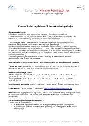 Kursus i udarbejdelse af kliniske retningslinjer - Center for Kliniske ...