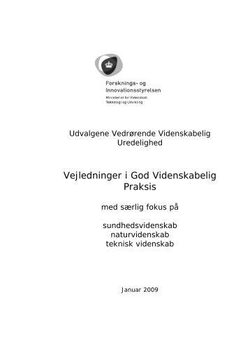 Vejledninger i God Videnskabelig Praksis - Praksisudvalget