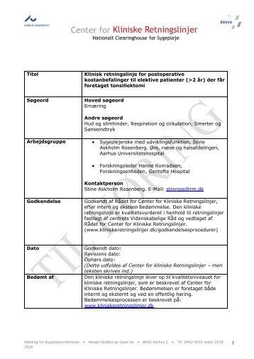Klinisk retningslinje for postoperative kostanbefalinger til elektive ...