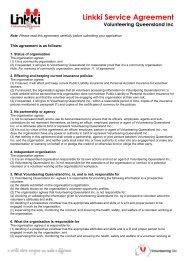 Linking Service Agreement - Volunteering Qld