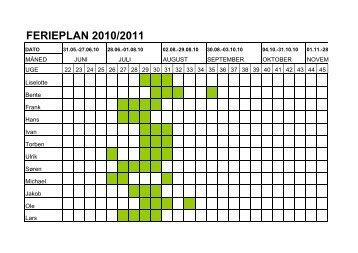 Ferieplan 2010 2011