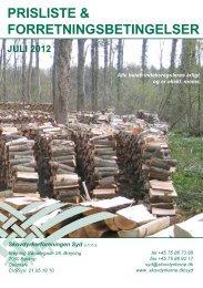 PRISLISTE & FORRETNINGSBETINGELSER - Skovdyrkerforeningen