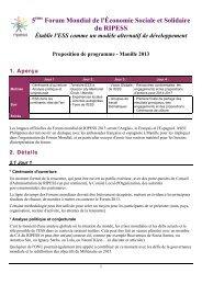 5 Forum Mondial de l'Économie Sociale et Solidaire ... - Pactes Locaux