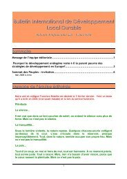 Bulletin International de Développement Local ... - Pactes Locaux