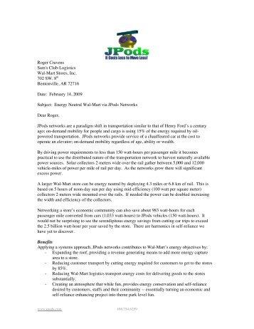 Roger Cravens Sam's Club-Logistics Wal-Mart Stores, Inc ... - JPods