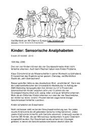 Kinder: Sensorische Analphabeten - Forum Essenzia