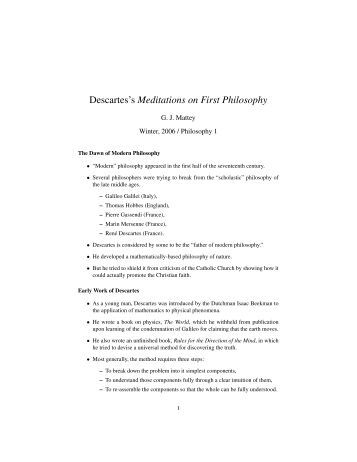 essay on descartes first meditation A summary of first meditation: skeptical doubts in rene descartes's meditations on first philosophy learn exactly what happened in this chapter, scene, or section of.