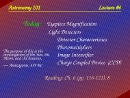 Astronomy 101 Lecture #4 Today: Eyepiece ... - HMC Physics
