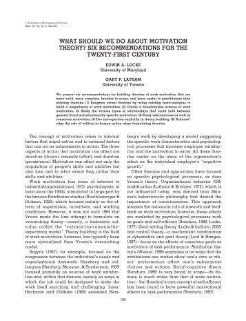 """the future of work motivation theory Introduction to special topic forum: the future of work motivation theory,"""" the academy of management review."""
