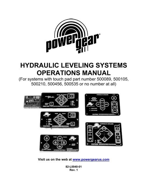 Hydraulic Leveling Systems Operations Power Gear