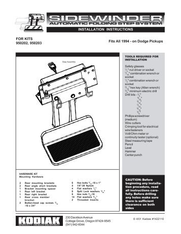 FOR KITS 950202, 950203 INSTALLATION INSTRUCTIONS Fits All ...