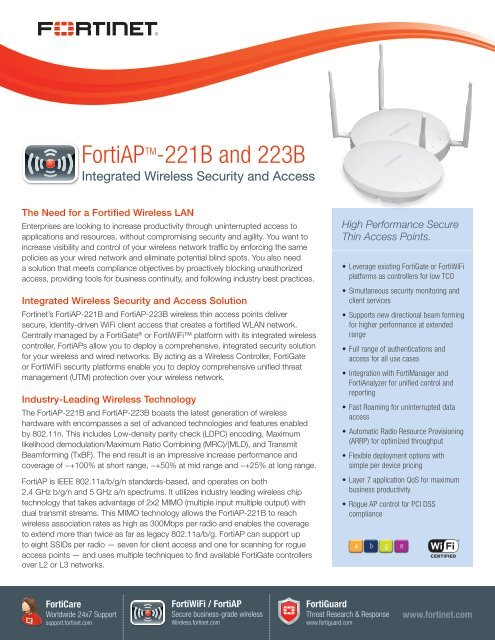 FortiAP 221B-223B datasheet - Fortinet