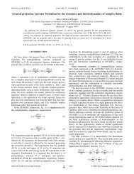 General projection operator formalism for the dynamics ... - ETH Zürich