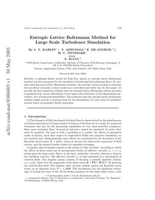 arXiv:cond-mat/0306003 v1 30 May 2003 - ETH Zürich