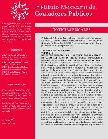 Noticias Fiscales 29 - Instituto Mexicano de Contadores Públicos