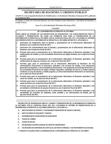 SECRETARIA DE HACIENDA Y CREDITO PUBLICO - Instituto ...