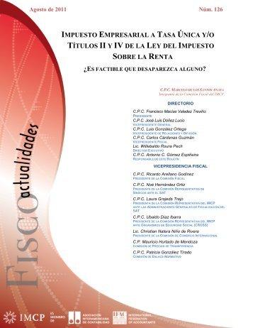impuesto empresarial a tasa única y/o títulos ii y iv de la ley del ...