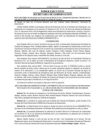 PODER EJECUTIVO SECRETARIA DE GOBERNACION