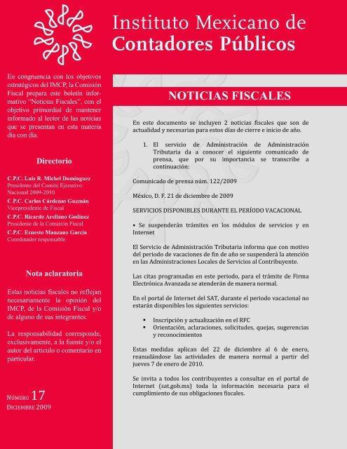 Noticias Fiscales 17 Instituto Mexicano De Contadores Públicos