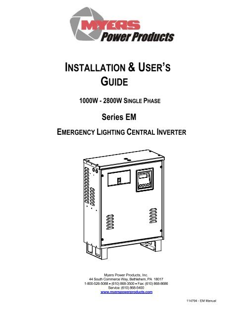 [SCHEMATICS_48EU]  INSTALLATION & USER'S GUIDE - Myers Power Products, Inc. | Myers Inverter Wiring Diagram |  | Yumpu