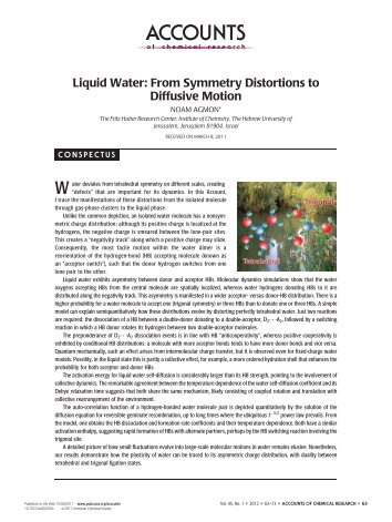 Liquid Water - The Fritz Haber Center for Molecular Research
