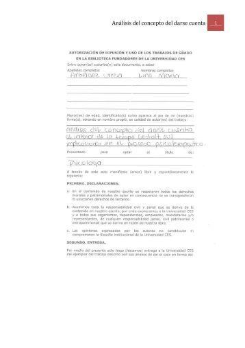 Análisis del concepto del darse cuenta - Universidad CES