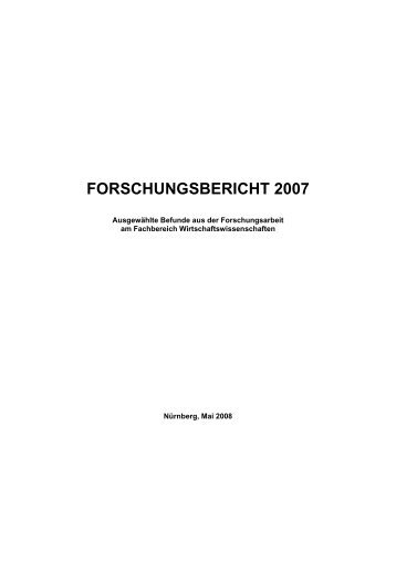 FORSCHUNGSBERICHT 2007 - am  Fachbereich ...