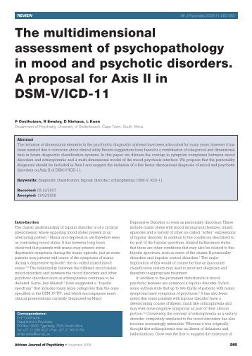 The multidimensional assessment of psychopathology in mood and ...