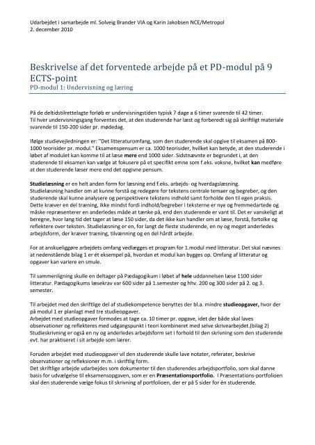 Beskrivelse af det forventede arbejde på et PD-modul på 9 ECTS-point