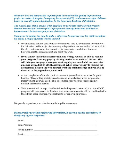 a hard copy version of the Pediatric Readiness Survey