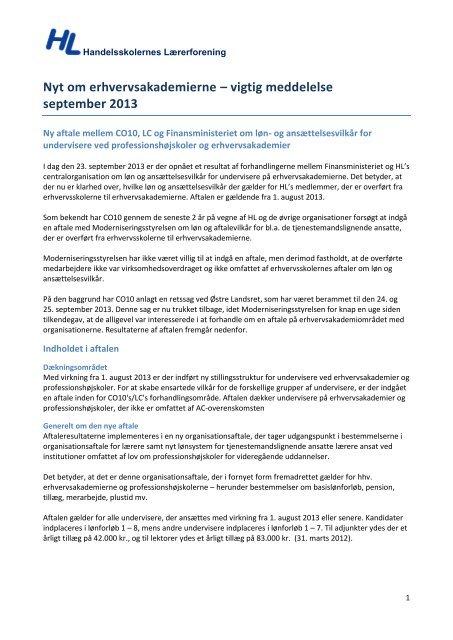 Læs mere om aftalen i HL's notat - Handelsskolernes Lærerforening