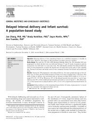 Delayed interval delivery and infant survival: A population-based study