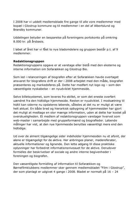 Årsberetning 2008 - Glostrup Bio