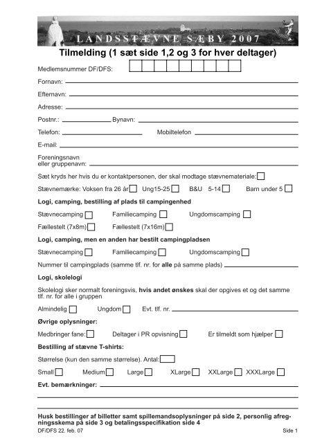 Tilmelding (1 sæt side 1,2 og 3 for hver deltager)