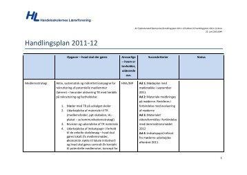 Handlingsplan 2011-12 - Handelsskolernes Lærerforening