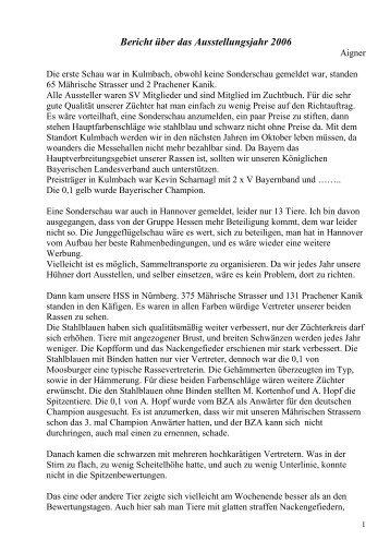 Bericht über das Ausstellungsjahr 2006 - sv-maehrischer-strasser ...