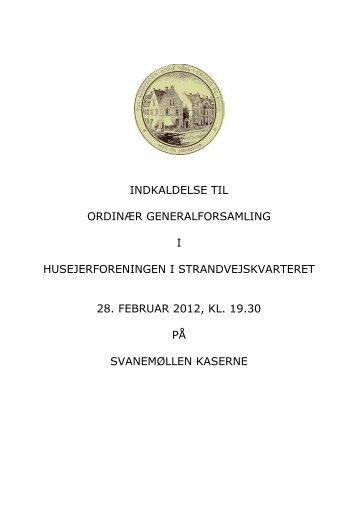 Materiale til generalforsamlingen 2012 tryk her - Strandvejskvarteret