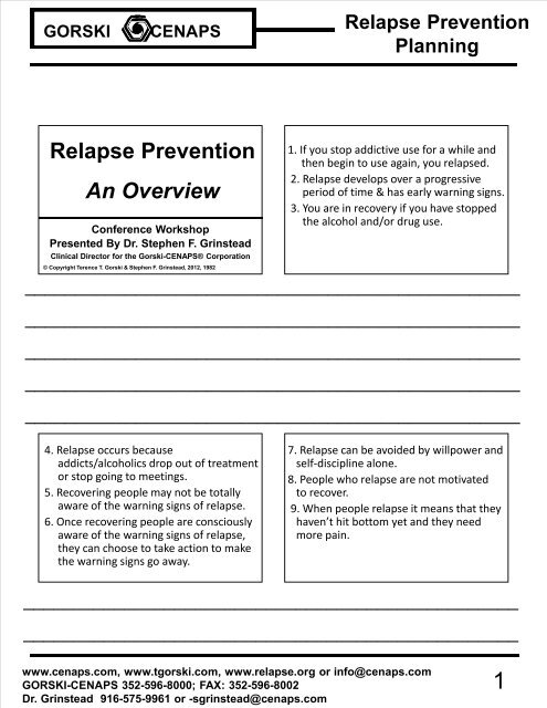 relapse prevention an overview