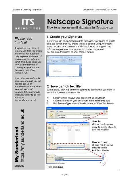Set Up A Signature In Netscape Mail Docushare