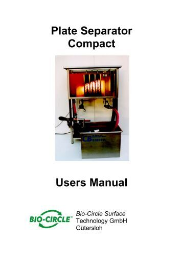 Plate Separator Compact Users Manual Bio-Circle Surface