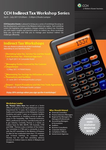 Indirect Tax Workshops - CCH Australia