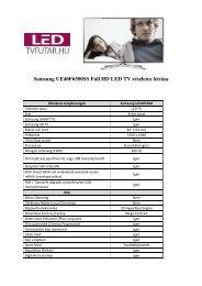 Samsung UE40F6500SS Full HD LED TV részletes leírása