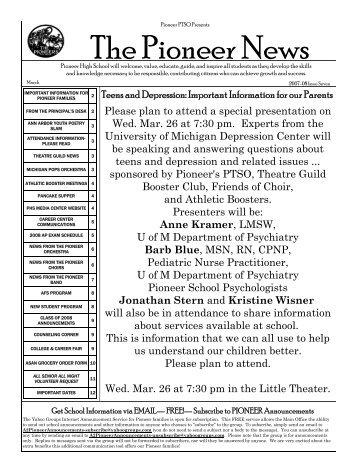The Pioneer News - Pioneer High School