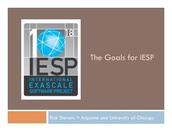 The Goals for IESP